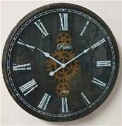 Picture of Black Metal Clock with Gears    CL70059